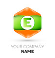 letter e logo in the colorful hexagonal vector image vector image