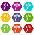 magnifying glass over hello word icon set color vector image vector image