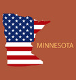 minnesota state of america with map flag print on vector image vector image