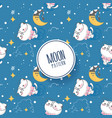 moon and stars pattern with kitten vector image vector image