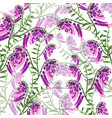 pattern of green branches with flowering purple vector image vector image