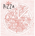 Poster love pizza vector image