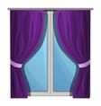 purple window curtains icon cartoon style vector image