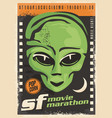 science fiction movie night retro poster design vector image