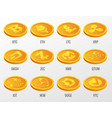 set cryptocurrency gold coins vector image