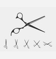 set hair cut scissor icon scissors design element vector image