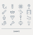 set of light elements outline icon vector image vector image