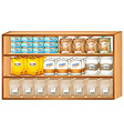Shelves full of different kinds of food vector image vector image