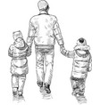 sketch parent with his little children going vector image