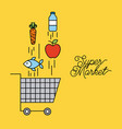 supermarket cart shopping with falling food vector image vector image