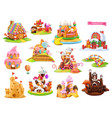 sweet houses and castles 3d cartoon objects vector image vector image