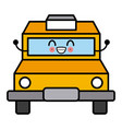 taxi cab vehicle cute kawaii cartoon vector image