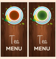 tea menu cup of tea with lemon wooden background vector image