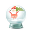 transparent crystal ball with snow ans santa vector image