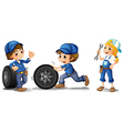 Two male mechanics and a female mechanic vector image vector image