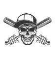 vintage gangster skull in baseball cap vector image vector image
