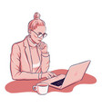 woman is working on laptop deinking coffee vector image vector image