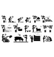workers from agriculture industry using mobile vector image vector image