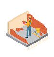 home repair isometric template builder with tools vector image