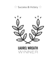 Laurel wreath flat linear icon of victory and vector image