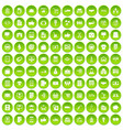 100 business icons set green vector image vector image