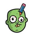 art funny zombie head vector image vector image