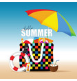 bag for beach summer with accessory colorful vector image vector image
