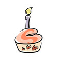 birthday cupcake on white vector image