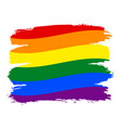 brushstroke rainbow flag lgbt movement vector image