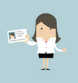 businesswoman holding id card in flat style vector image vector image