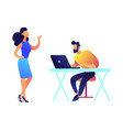 businesswoman talking and businessman working on vector image