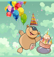 cartoon happy bear with cake and balloons vector image