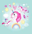 cartoon set unicorns and fabulous objects vector image vector image