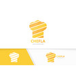 chef hat logo combination kitchen vector image vector image