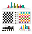 chess game set with pieces and chessboards vector image