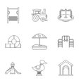 Children games icons set outline style vector image vector image