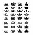 Collection of 32 crown icon logo symbol dow vector image