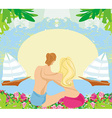 couple on tropical vacation abstract frame vector image vector image
