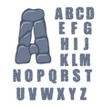 cracked stone alphabet on a white vector image