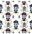 cute cartoon panda in a pirate hat with pattern vector image vector image