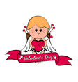 cute cupid boy with a heart shape vector image vector image