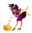 cute little witch isolated vector image