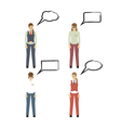 Female figures icons avatars with speech bubbles vector image vector image