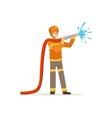 fireman character spraying water using hose vector image vector image