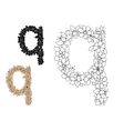 Floral letter q with blooming flowers vector image vector image