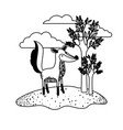 fox cartoon in outdoor scene with trees and clouds vector image
