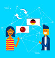 friends translating chinese to german language vector image