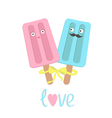 Funny ice cream couple with lips mustaches eyes vector image