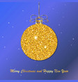 gold christmas ball with line bow holiday christm vector image vector image