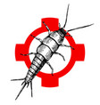 hand drawn silverfish on crosshair vector image vector image